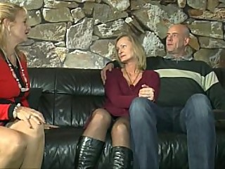 Mature german couple having hot sex while getting watched by another lady